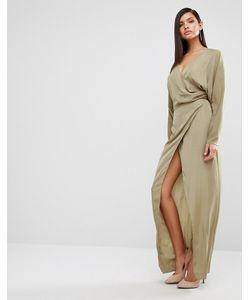 AQ AQ | Платье-Макси С Драпировкой Aqaq Marvey Тускло-Зеленый