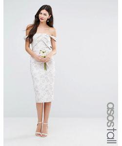 ASOS TALL | Жаккардовое Платьефутляр Миди Wedding Серый Многоцветный