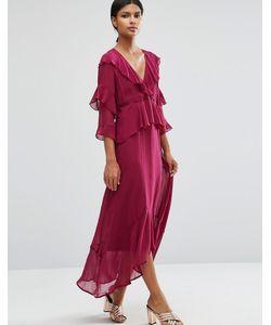 Asos   Платье Макси С Глубоким Вырезом И Оборками Спереди Ягодный