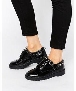 T.U.K | Массивные Кожаные Туфли На Шнурках С Заклепками . Черная Кожа