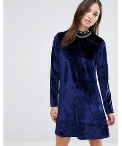 Brave Soul | Вельветовое Приталенное Платье Темно-Синий