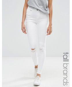 Vero Moda Tall | Джинсы Скинни С Рваной Отделкой Белый