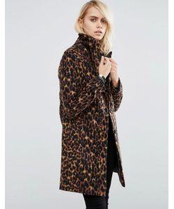 Asos | Пальто Узкого Кроя С Леопардовым Принтом Мульти