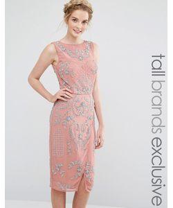 Maya Tall | Декорированное Платье Миди С Запахом На Юбке Розовая