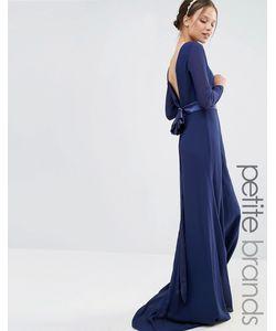 TFNC Petite | Платье Макси С Длинными Рукавами И Бантом Сзади