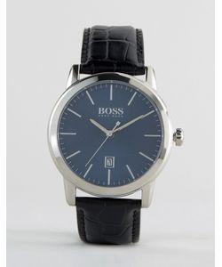 BOSS   Часы С Черным Кожаным Ремешком Hugo Classic Черный