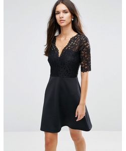 Asos | Приталенное Платье С Кружевным Верхом Черный