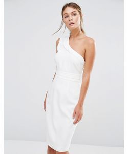 Style Stalker | Платье Миди На Одно Плечо Stylestalker Белый