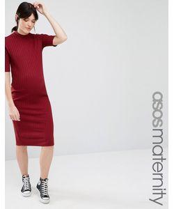 ASOS Maternity | Облегающее Платье Миди Для Беременных В Рубчик Темно-Бордовый