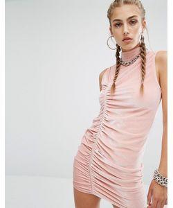 Jaded London | Бархатное Облегающее Платье С Высокой Горловиной Co-Ord Пыльно-Розовый