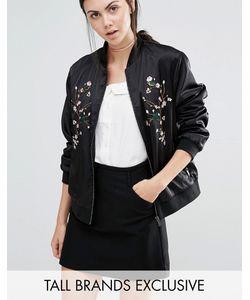 Fashion Union Tall | Куртка-Пилот С Цветочной Вышивкой Черный