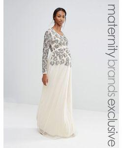 Maya Maternity | Платье Макси С Длинными Рукавами И Цветочной Отделкой