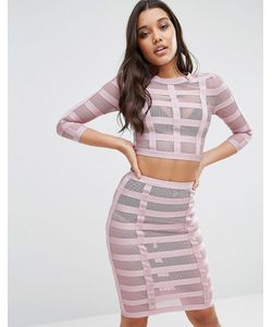 WOW Couture | Co-Ord In Bandage Mesh Blush
