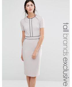 Alter Tall | Платье-Футляр С Короткими Рукавами И Окантовкой Серый