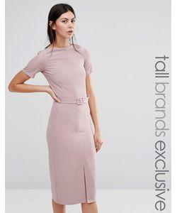 Alter Tall | Платье-Футляр С Разрезом Спереди И Ремнем Розовая Роза