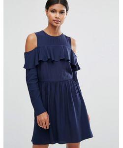 Asos | Платье Мини С Оборкой И Вырезами На Плечах Темно-Синий