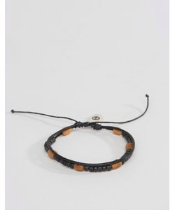 Classics 77 | Wood Beaded Wax Cord Layered Bracelets Черный
