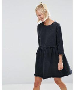 Asos | Черное Джинсовое Платье С Присборенной Юбкой Выбеленный Черный