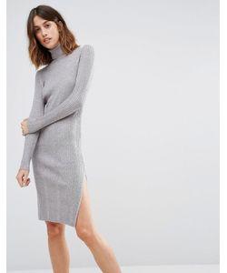 Vero Moda | Платье С Отворачивающимся Воротником Ls Серый Меланж