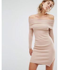 Parallel Lines | Платье-Джемпер С Открытыми Плечами Бежевый