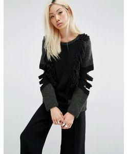 Oneon | Hand Knitted Jumper With Exposed Elbow Detail Хаки