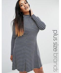 Club L | Жаккардовое Короткое Приталенное Платье Plus Серый