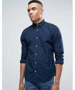 Esprit | Темно-Синяя Узкая Рубашка На Пуговицах