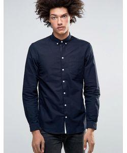 Minimum | Классическая Оксфордская Рубашка Узкого Кроя На Пуговицах Jay Темно-Синий