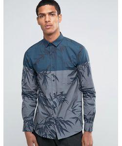 Selected Homme | Рубашка Со Вставкой И Принтом Листьев Темно-Синий