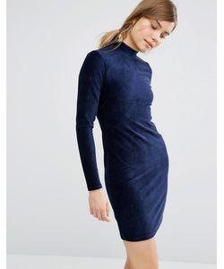 Vero Moda | Облегающее Вельветовое Платье Темно-Синий