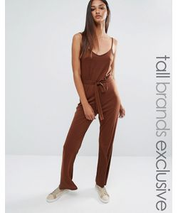 One Day Tall | Wrap Front Cami Strap Jumpsuit Шоколадный