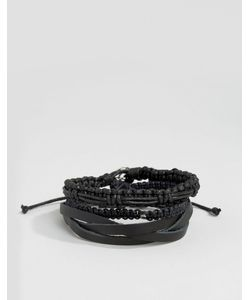 Icon Brand   Набор Черных Кожаных И Плетеных Браслетов