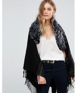 Jayley | Темно-Серое Пальто В Полоску С Меховой Отделкой Серый