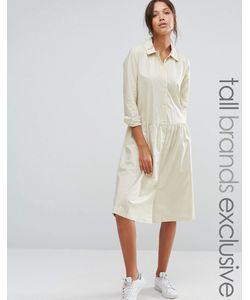 ADPT Tall | Платье С Длинными Рукавами И Пуговицами Спереди Кремовый