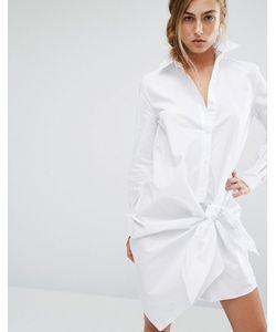Parallel Lines   Платье-Рубашка С Узелком Белый