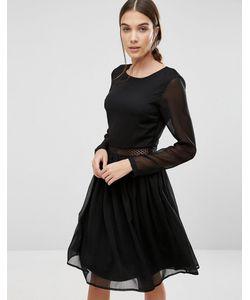 Y.A.S. | Платье С Длинными Рукавами И Кружевной Вставкой Y.A.S Marissa Черный