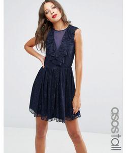ASOS TALL | Кружевное Короткое Приталенное Платье С Оборкой Темно-Синий