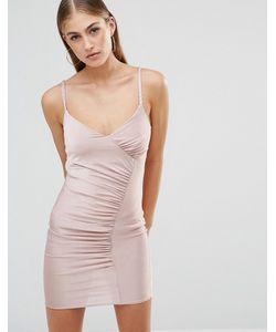 MISSGUIDED   Облегающее Платье Миди На Плетеных Бретельках Со Сборками Mauve