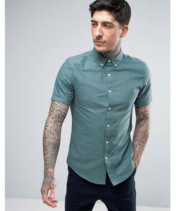 Farah | Зеленая Приталенная Оксфордская Рубашка На Пуговицах С Короткими Рукавами Brewer