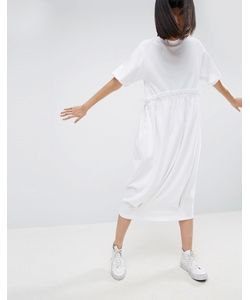 ASOS WHITE | Трикотажное Платье-Футболка Миди С Контрастной Оборкой