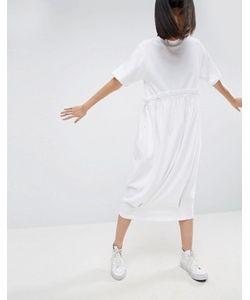 ASOS WHITE   Трикотажное Платье-Футболка С Контрастной Оборкой