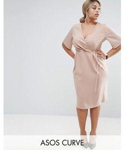 ASOS CURVE | Midi Wrap Dress With Tie Detail