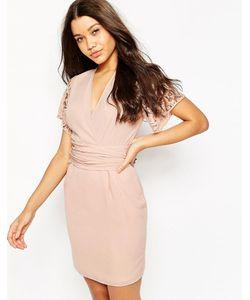 Asos | Платье С Запахом И Кружевными Рукавами Розовый