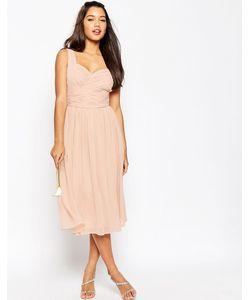 Asos | Платье Миди С Присборенной Вставкой Wedding Розовый