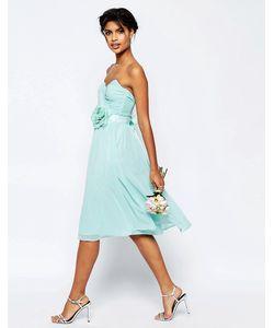 Asos | Шифоновое Платье Бандо Миди Wedding Синий