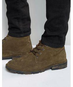 Asos | Замшевые Ботинки Чукка Цвета Хаки На Камуфляжной Подошве Зеленый
