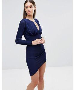 Sistaglam | Платье С Длинными Рукавами Темно-Синий