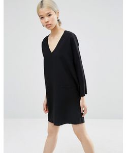 Asos | Цельнокройное Платье С Глубоким Вырезом И Необработанным Краем Черный