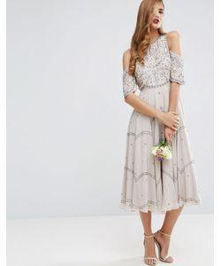 Asos   Платье Миди С Открытыми Плечами И Цветочной Отделкой Wedding