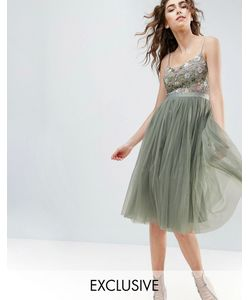 Needle & Thread | Платье Миди С Тюлевой Юбкой И Вышивкой На Лифе Needle And